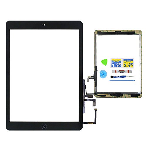 Monstleo Black Digitizer Touch Screen Outer Glass Panel for iPad Air 1st Gen Generation with Home Button Flex Cable Assembly + Premium Tools + Adhesive Tape (Open Frame Lcd Display Panel)