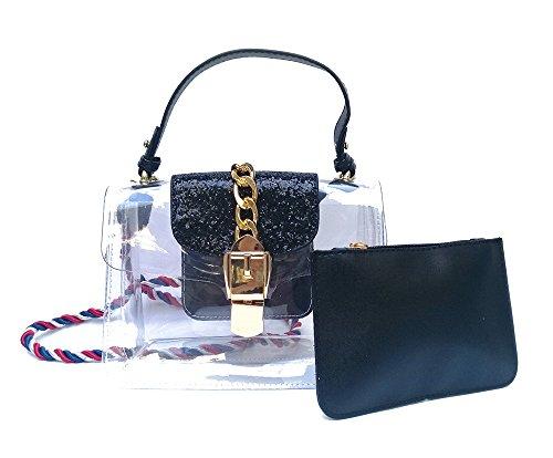 Bags Black Shoulder Bag Cross Handbags Set body Women's black Messenger Clear Bags RWfqzOWwv