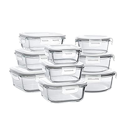 Glass Storage Containers with Lids, 18 Pieces Glass Meal Prep Containers