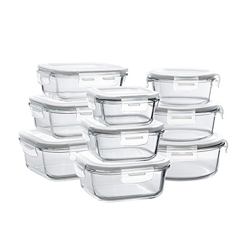 Glass Storage Containers with Lids, 18 Pieces Glass Meal Prep Containers Airtight, Glass Food Storage Containers, Glass Containers for Food Storage with Lids - BPA-Free & FDA Approved & Leak -