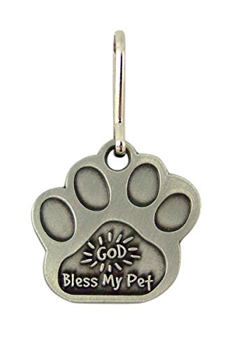 Brushed Pewter God Bless My Pet Paw Shaped Medal for Cat or Dog, 1 5/8 (Paw Shaped Clip)