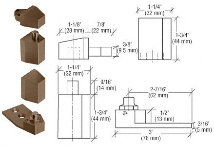 Reversible Door Hinge - CRL Offset Duranodic Bronze Reversible Pivot Set Recessed 1/8
