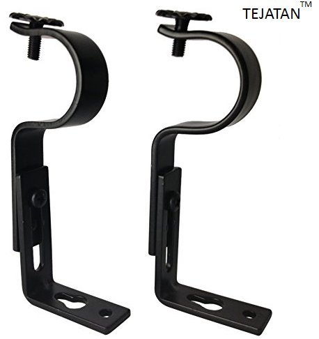 TEJATAN Adjustable Curtain Rod Brackets, Black, Set of 2