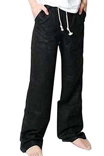 Ampia Lino Black Pantaloni E Gamba Cotone Spiaggia Respirabile Claasic Dei Si Gli Vosujotis Uomini UxHzwFYWq