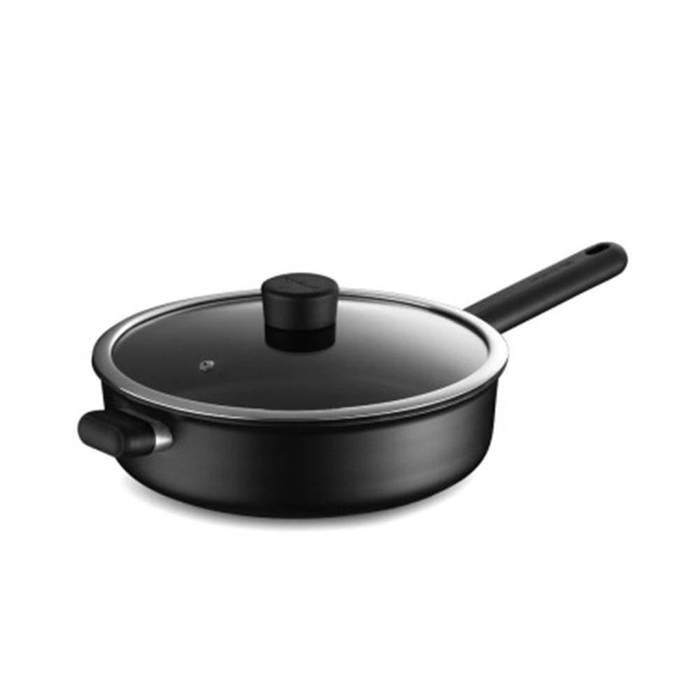 TONGBOSHI Wok Pan Nonstick Pan 28cm Pan Less Oily Gas Gas Induction Cooker General Frying Pan Cooking Pot product (Color : Black)