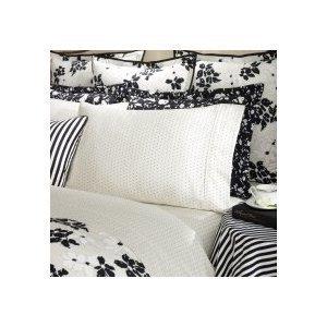 Ralph Lauren Port Palace King Flat Sheet Black Cream Small Dot