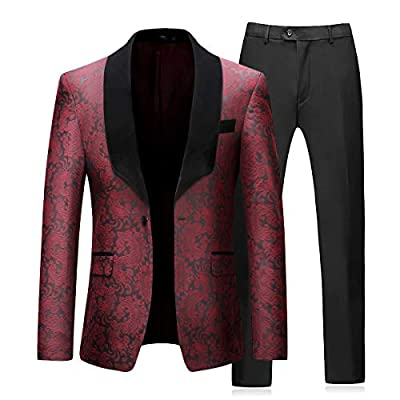 Boyland Men's 2 Piece Tuxedos Suits Blazer Vintage Groomsmen Wedding Suit Complete Outfits (Blazer+Trousers)