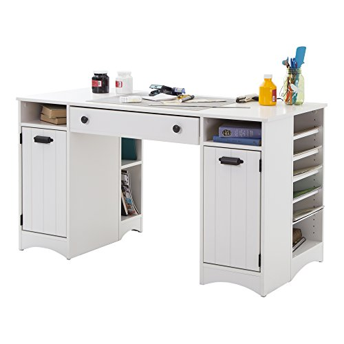 artwork craft table with storage large work surface multiple storage spaces pure white by south shore
