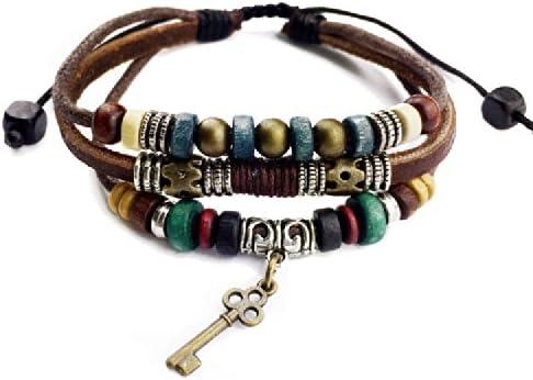 Agathe YS572-Creation-Pulsera tibetain; amuleto-Llave de bronce, cáñamo-piel y perlas de madera y metal, hecho a mano, color Multicolor