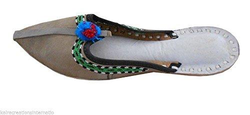 Pelle Flip flop Scarpe Jutti Pantofole Zoccoli Grigio In Donna Creations Indiani Da A Fatti Kalra Mano zawfqxa