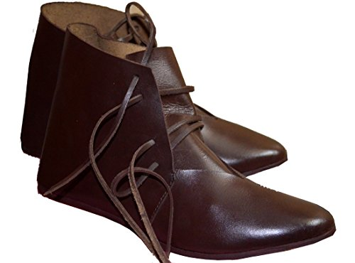 Medieval Leather Shoes Ankle Length Brown Renaissance Boot (Brown, 13) ()