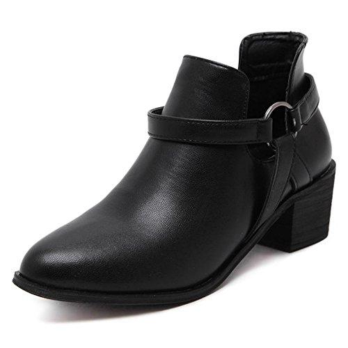 Casual Martin BLACK 36 Robe Talons bottes bottes chunky hauts bas femme Carrière amp; mxx Talon hiver pointues Bureau Confort LvYuan Bottes w8HxPqR4