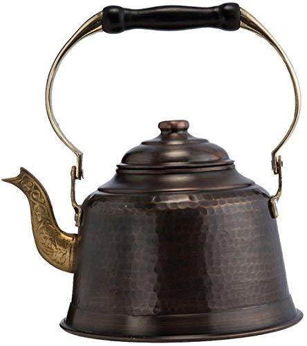- DEMMEX 2017 Heavy Gauge 1mm Thick Hammered Copper Tea Pot Kettle Stovetop Teapot (1.6-Quart) (Antiqued Copper)