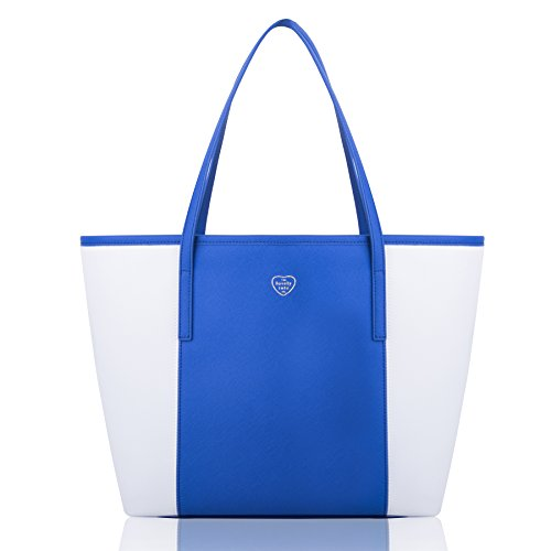The Lovely Tote Co. Women's PU Color Block Open Tote Shopper Bag Accessory One Size Blue/White Mix