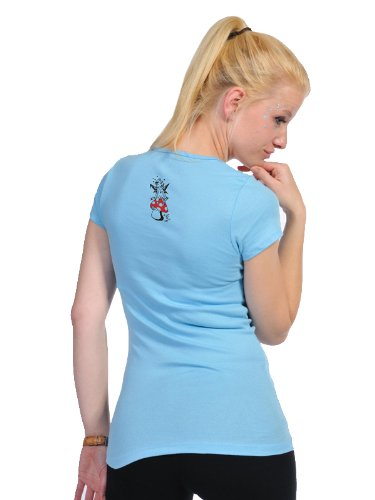 Camisa Fashion 3elfen Ladies Ropa Blue Fungus Cuello Redondo Mujer Con de Top de Manga Corta Camiseta Fashion qEwI6