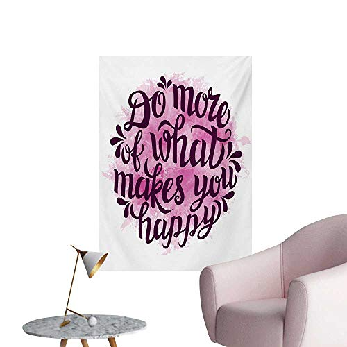 Anzhutwelve Quote Wall Sticker Decals Do More of What Makes You Happy Slogan with Watercolor Brush Strokes BackgroundPink and Purple W24 xL36 Funny -