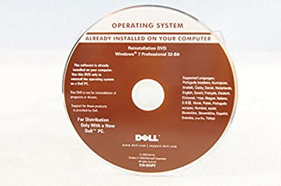 Dell Operating System Reinstallation DVD Windows 7 Professional 32-Bit Year 2009 Part Number 8X4PY PC Recovery Install Software Disc Program