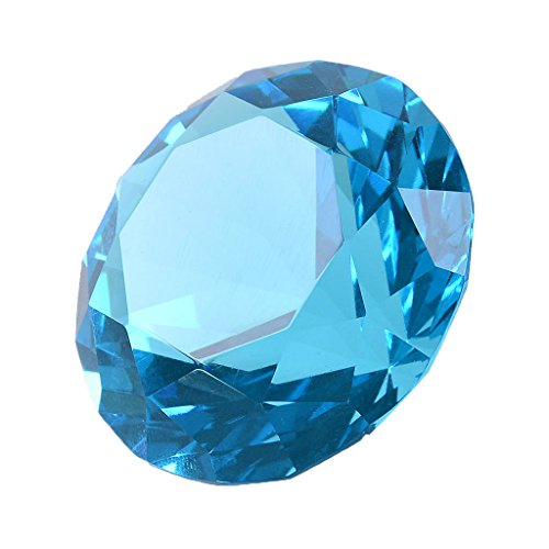 """LONGWIN 50mm (2"""") Crystal Faceted Diamond Paperweight Wedding Favor Home Decor (Light Blue)"""