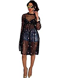 Womens Sexy Long Sleeve O Neck Mesh Embroidered See-Through Party Clubwear Dress