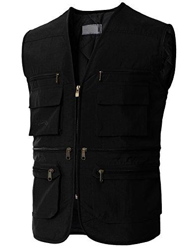 H2H Men's Puffer Quilted Water Repellent Full Zipper Packable Vest Jacket Coat Black US 3XL/Asia 4XL (KMOV0167) - Multi Zipper Vest