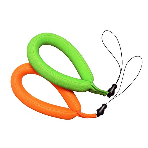 Waterproof Camera Float Strap, Pack of 2, Floating Wrist Strap for Underwater Cameras, Waterproof Cameras, Marine Binoculars, Camcorders, Nikon, Canon, Sony and Phones (Green&Orange)