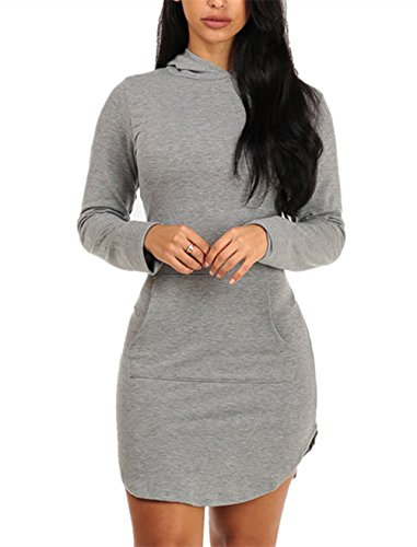 Sidefeel Women Long Sleeve V Neck Cotton Sweat Hoodie Dress Medium Grey1