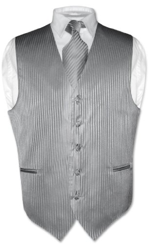 Vesuvio Napoli Men's Dress Vest NeckTie SILVER GREY Vertical Striped Design Neck Tie Set sz XL