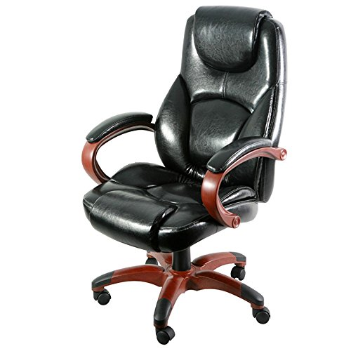 Galena Bonded Leather Wood Base High Back Chair Black Bonded Leather/Cherry Finished Arms & Base Dimensions: 26.77