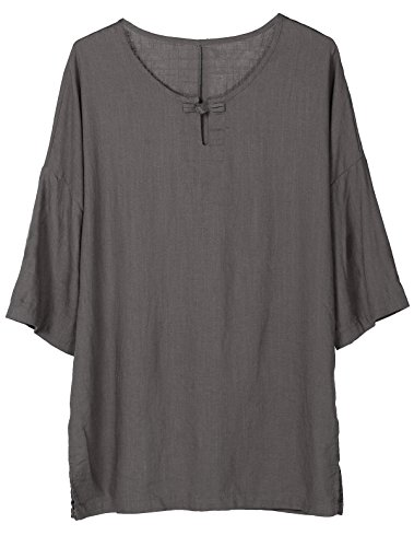 Minibee Women's Elbow Sleeve Linen Tunic Tops Solid Color Retro Blouse Gray L by Minibee (Image #1)