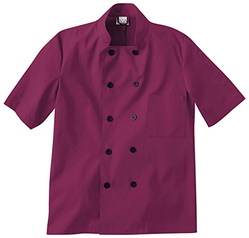 Five Star Chef Apparel Unisex Short Sleeve Coat (Wine, XX-Small) by Five Star