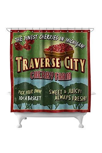 (Lantern Press Traverse City, Michigan - Cherry Farm Vintage Sign 37072 (74x74 Polyester Shower Curtain))