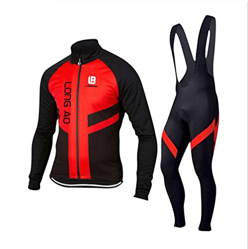 Cyber Monday FHSom Men's Cycling Long Sleeve Zip Fleece Lined With 4D-Padded Breathable Warm Quick Dry Jersey Suit Cloth Winter (Colombia National Costume For Men)