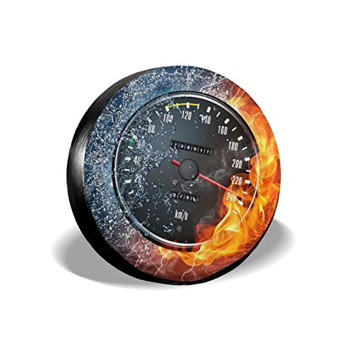 Bizwheo Speedometer Fire Water1 Classic Polyester Spare Tire Cover Dust-Proof for All Cars