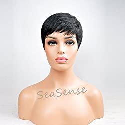 SeaSense Short Synthetic Hair Wigs Pixie Cut Wig for Black Women 1B Color