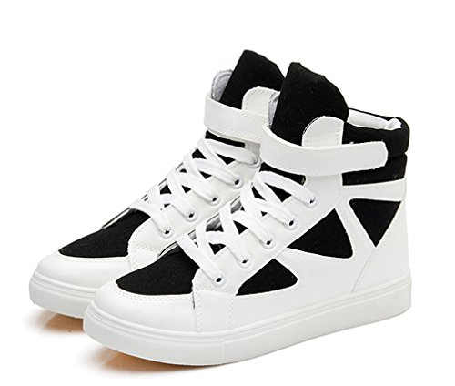 Lace Fashion Ginnastica Nero In Bianco Top Scarpe Piatte High Hook Loop Up Da Ladies E Vecjunia aE5wqHR