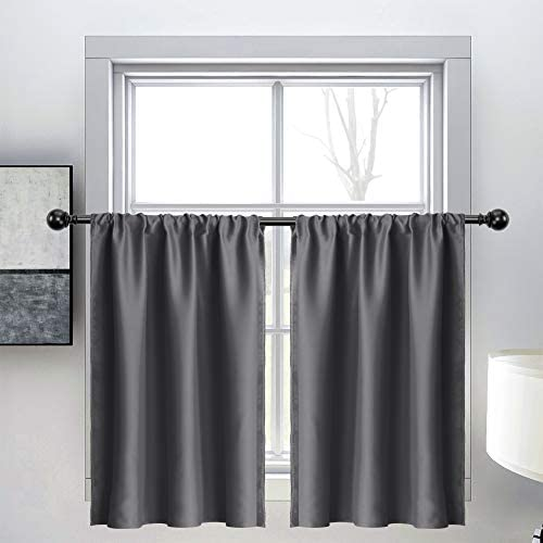 WONTEX Grey Kitchen Curtains Tiers, 30 x 36 inch Long, Set of 2 Short Thermal Blackout Curtains for Small Window, Room Darkening Rod Pocket Cafe Curtain Panels