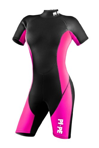 PI-PE Pure Woman Shorty Wetsuit - 3mm Neopren – Warm Short Sleeve Wetsuit for Watersport, Snorkling, Diving, Surfing – Super Stretchy Comfortable – Ladies – Red, Grey (Pink, - Miami Wetsuit