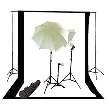 Image of Background Support Equipment CowboyStudio Photography and Video Continuous Triple Lighting Kit, Backdrop Support System, Black & White Muslin Backdrops and Carry Case for Support System