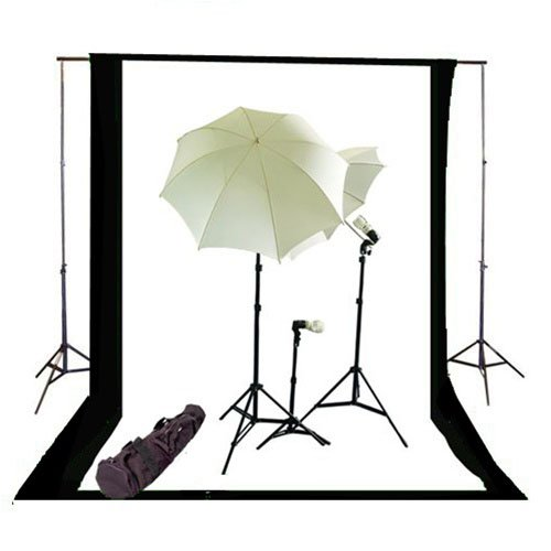CowboyStudio Photography and Video Continuous Triple Lighting Kit, Backdrop Support System, Black & White Muslin Backdrops and Carry Case for Support System by CowboyStudio