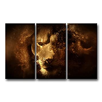 3 Piece Wall Art Painting Mysterious Lion Face Close-Up Pictures Prints On  Canvas Animal