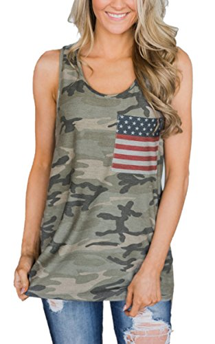 Angashion Womens Camo Tank - Casual Sleeveless American Flag Racerback T Shirt Tops with Pocket