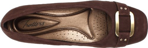Trotters Womens Sizzle Signature Ballet Flat Dark Brown Suded