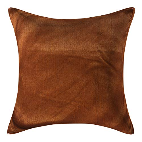 (Set of 2 Metallic Gold Brown Art Silk Pillow Covers, Plain Silk Cushion Cover, Solid Color Metallic Gold Brown Throw Pillow, (16x16 inches, Metallic Gold Brown))
