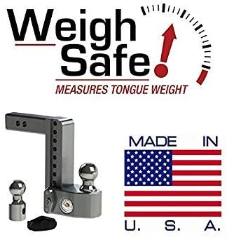 Keyed Alike Key Lock and Hitch Pin 2 /& 2-5//16 2 Stainless Steel Balls 4 Drop Hitch w// 2 Shank//Shaft Weigh Safe WS4-2-KA Adjustable Aluminum Trailer Hitch /& Ball Mount w//Built-in Scale