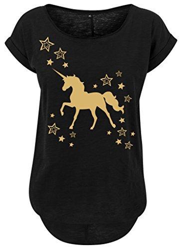 Mujeres Mujer Larga Slub camiseta Camisa de verano Camisa mujer Oro brillo Unicorn Estrellas Einhorn oro Negro