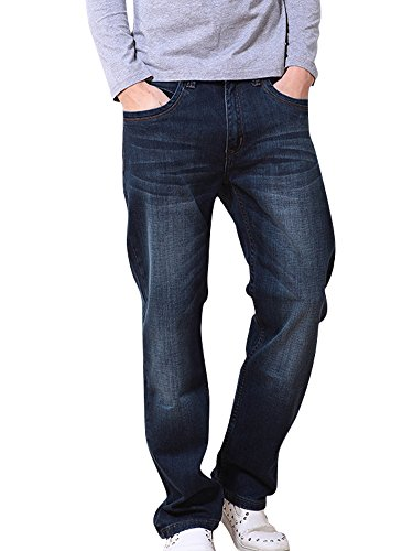YOYEAH Men'Classic Plus-Size Straight Casual Jeans 46 - Apparel Soundtrack City Motion