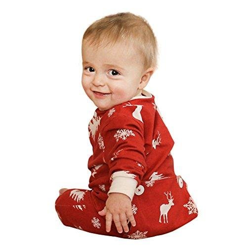 Ephex Baby Boys Girls Cotton Romper Jumpsuit Christmas snowflake and Deer Print Red 9-12 Months