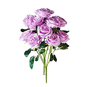 Kislohum Artificial Flowers Roses 2 Bundles Lilac Fake Silk Roses for Home Decor DIY Wedding Bridal Bouquets Centerpieces Arrangements Baby Shower Flower Decoration with 10 Heads Totally 20