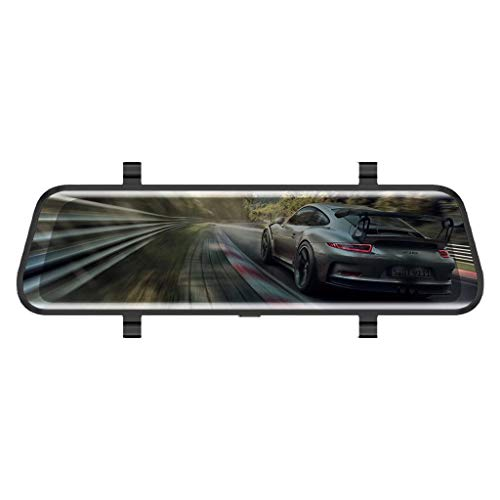 (V21 TOU ch Scren 10'' Car DVR Dash Cam Front Rear Mirror Camera Video Recorder Monitor Maoyou Black)
