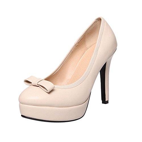 MissSaSa Damen elegant und simpel high-heel Plateau Low-cut Pumps mit Schleife Beige
